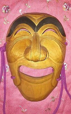 WOOD Noh MASK Japanese Dance Theater Hand Carved movable Jaw vintage wooden