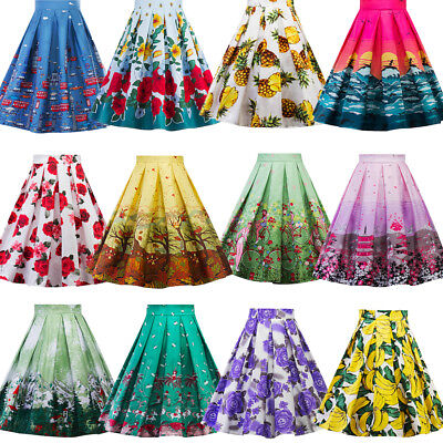 50s Women Vintage Style Floral High Waist Pleated A-Line Skirt Pinup Swing Dress
