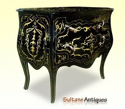 Magnificent Black LOUIS XV Style commode gold ornate