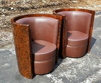 Superb Pair armchairs in in Burl walnut Art Deco style