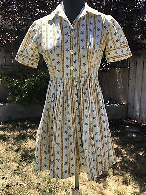VTG 1950s COTTON DAY DRESS STRIPED NAUTICAL PRINT FULL SKIRT STARS & ROPES XS/S