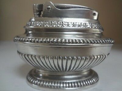 Ronson Queen Anne Table Top Wick Lighter Silver Plated New Jersey Usa Vintage
