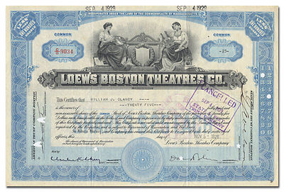 Loew's Boston Theatres Co. Stock Certificate