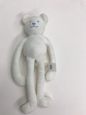 "Jacadi White Teddy Bear Plush Soft Sewn Eyes Paris Baby 12"" Hand Embroidered"