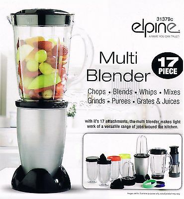 17Pc 250w Bullet Cup Electric Multi Food Blender Grinder Smoothie Processor Silv