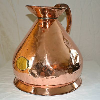 "English Copper Ale Jug circa 1820s Hand Forged Brass Emblem on front 15"" Tall"