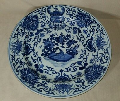 A large Chinese Blue And White Charger With Kangxi Mark