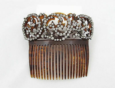 """Rhinestone Celluloid Large Comb - 4.5"""" faux tortoise shell - hollywood glam"""