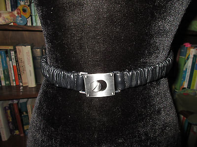Banana Republic small black stretchy belt with silver buckle EUC