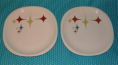 "2 Vtg Syracuse China Trend Jubilee Atomic Star 9 3/4"" Dinner Plates 98-L"