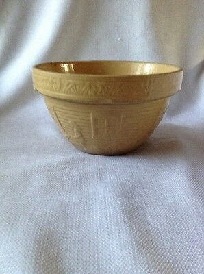 Vtg Yellow Stoneware Pottery Mixing Bowl #166 W Girl & Watering Can / U.s.a.