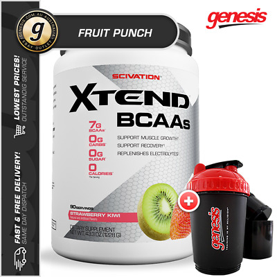 Scivation Xtend - *90 Serve Fruit Punch* BCAA Amino Muscle Recovery + FREE Gift!