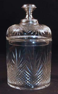 Antique Continental Cut Glass Crystal Jar w/ 830 Silver Top Knob Dresser Jelly