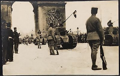 Real Photo Postcard RPPC ~ WW I Paris France Tanks Passing Under Arc de Triomphe