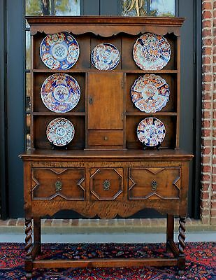 Antique English Oak Barley Twist Jacobean Welsh Plate Dresser Sideboard Cabinet