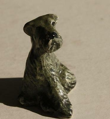 Vintage Bone China Hand Painted Miniature Unmarked Gray Setter Dog Figurine-CUTE
