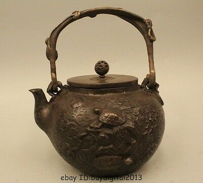 "8""Archaic Japan Japanese Iron beautiful sea turtle Kettle Wine Tea Pot Flagon"