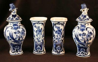 Antique De Porceleyne Fles Blue Delft 4 pc Cabinet Set Dated 1915 Holland