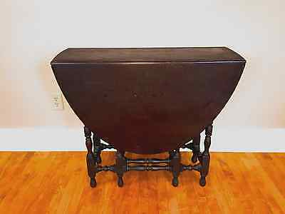 Antique Drop Leaf Gate Leg Table w One Drawer~ Oblong
