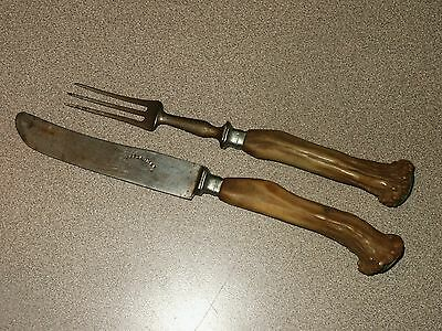 RARE Antique Stag Handle Knife & 3-Prong Fork Placesetting G. PFLAUMER OEHRINGEN