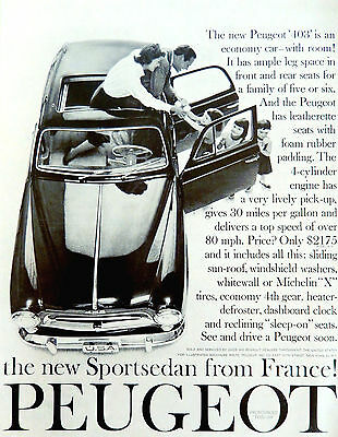 Vintage 1958 Peugeot 403 automobile car advertisement art print ad