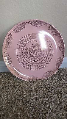 Vintage 1961 Pink Gold Calendar Birthday Dinner Plate Taylor Smith Pebbleford