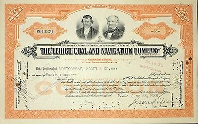 1933 Lehigh Coal and Navigation vintage stock certificate