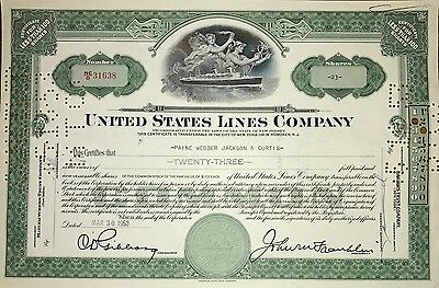 1953 United States Lines vintage stock certificate