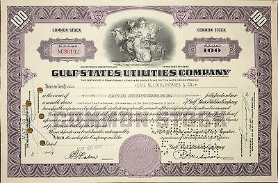 1949 Gulf State Utilities vintage stock certificate