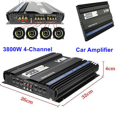3800 Watt Car Audio High Power Stereo Amplifier RMS 4 Channels Powerful Amp 4Ohm