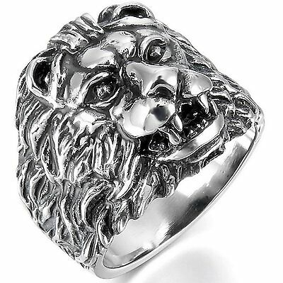 Men's 316L Stainless Steel Ring Lion Head Gothic Biker Silver Tone