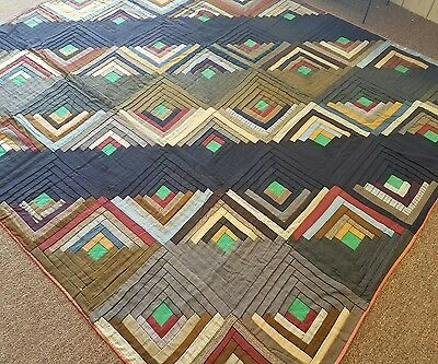 DAZZLING Vintage 1890's Barn Raising Log Cabin Antique Quilt