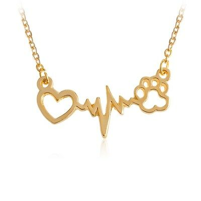 ef0e75f33 Womens Necklace Gold Pet Heartbeat EKG Paw US New Pendant Heart Chain Choker