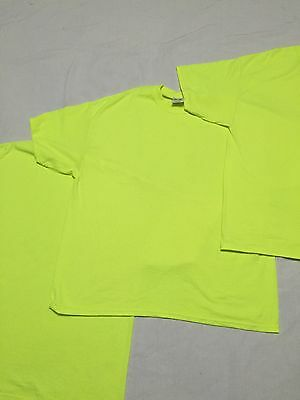 Lot Of 3 Port & Company XL SS Fluorescent Yellow T-Shirts NWOT Bright Tee