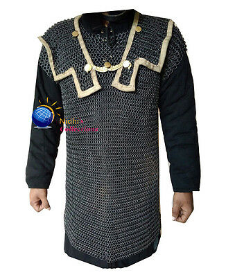 Medieval Chainmail HAMATA COSTUMES DRESS 10 MM LARGE Mild Steel BUTTED Armor SCA
