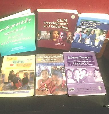 CHILDHOOD EDUCATION<>LOT of 2 NEW DVD's and 5 TEXTBOOK, WOOKBOOK, STUDY GUIDES