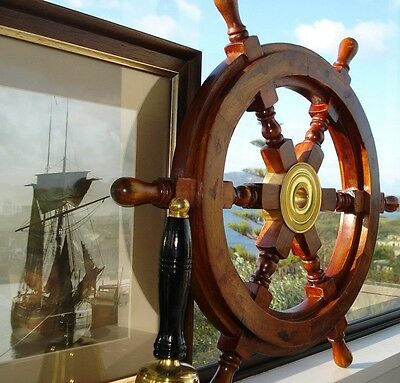 "18"" Nautical Ship Wheel Pirate Captain Brass Wooden Collectable Item For Gift"