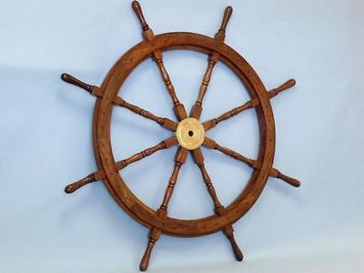 "Nautical Wooden Ship Steering Wheel Pirate Decor 36""wood Brass Wall Boat Captain"