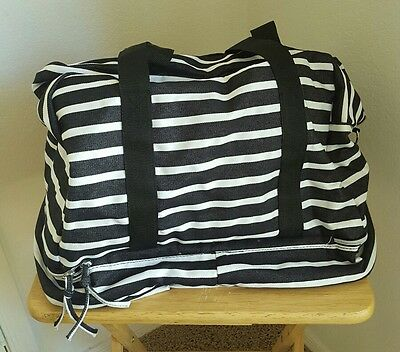 Black White Striped Denim WEEKENDER BAG TRAVEL OVERNIGHT NWT FREE SHIPPING*
