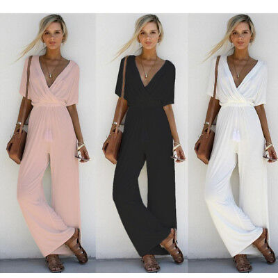 Women V Neck Loose Long Jumpsuit Solid Color Cotton Romper Short Sleeve Playsuit