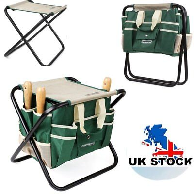 Gardening 7 Pieces Toolbag Garden Tool Bag Seat Set W/ Folding Storage Stool