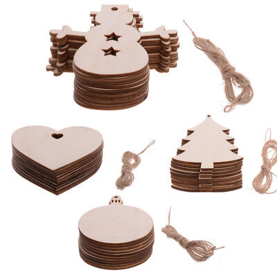 10PC MDF Blank Wooden Craft Shapes Family Wedding Party Ornament Hanging Craft