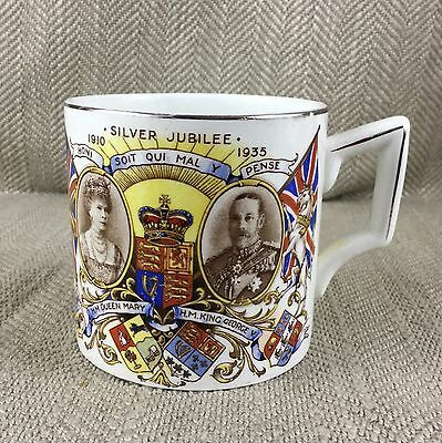 King George V & Queen Mary Silver Jubilee 1910 1935 Commemorative Mug Cup