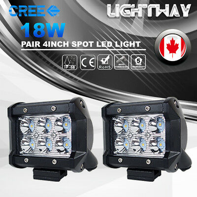 Pair 4inch 18W Spot CREE LED Work Light Bar Off road 4WD Fog ATV SUV Driving Lam