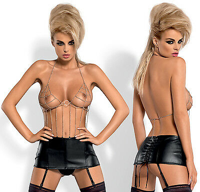 OBSESSIVE Punker Chain Body With A Detachable Suspender Belt and Matching Thong