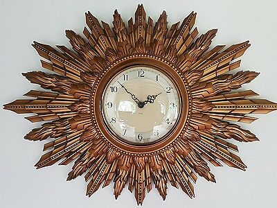 A large impressive Smiths sunburst wall clock 1950s wonderful condition
