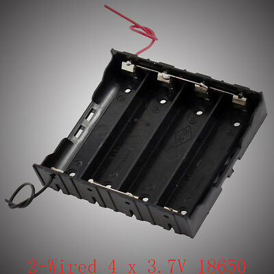 Rectangle In Parallel 2-Wired 4 x 3.7V 18650 Battery Holder Case Black