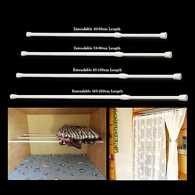 2 Pcs Spring Loaded Extendable Voile Bath Net Curtain Tension Rod Pole Rail