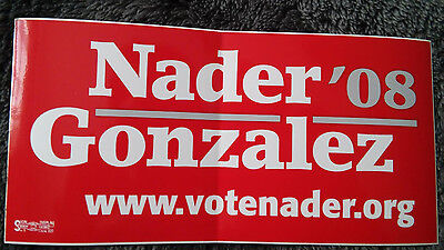 Ralph Nader for President 2008 campaign red bumper sticker NEW