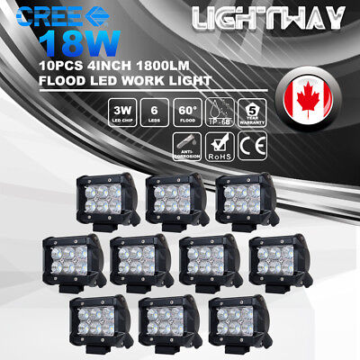 10x 4inch 18W Flood CREE LED Work Light Pods Offroad 4x4 Heavy Duty Driving Lamp